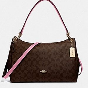 NWT Coach Mia Signature Purse Brown Black and Pink